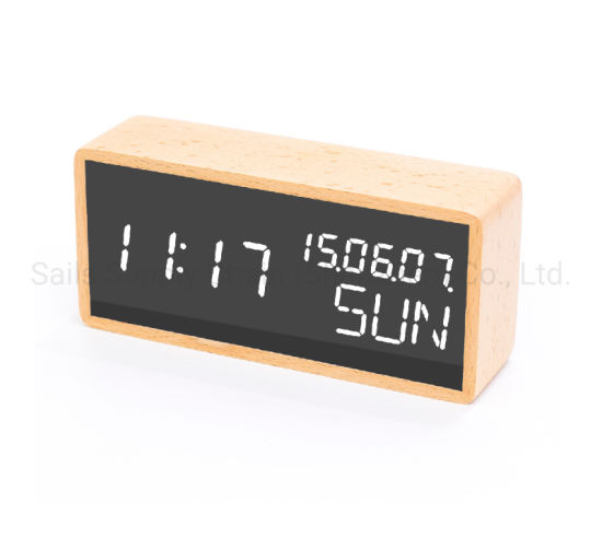 No. 1609 Solid Wood LED Alarm Clock with Beech/Sapele