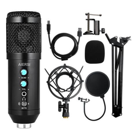 Aiersi Brand PC Computer Laptop Desktop USB Cardioid Condenser Live Broadcasting Metal Microphone Speaker