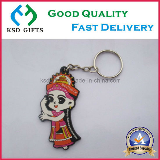 Novelty Lovely Girl Style Custom PVC/Plastic/Rubber Keychain with No MOQ