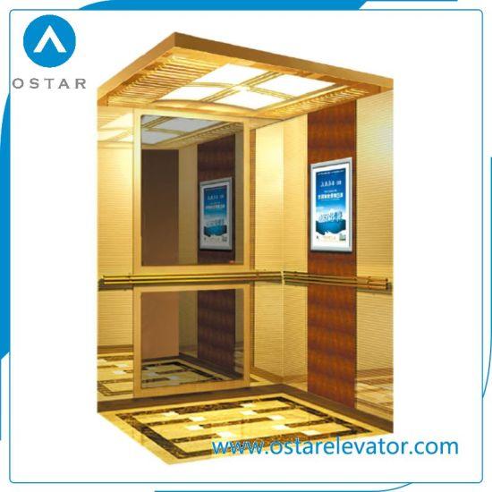 450~1000kg Machine Roomless Passenger Elevator with Golden Titanium Etching Cabin