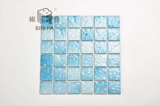 48x48mm Light Blue Wave Pattern Porcelain Ceramic Mosaic Tile For Decoration Kitchen Bathroom And Swimming Pool