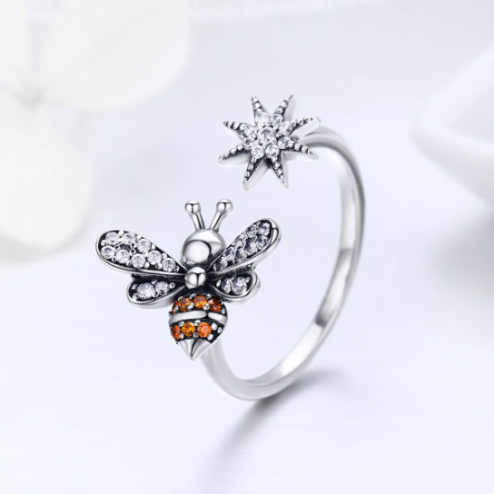 925 Sterling Silver Bee with CZ Open Size Women Wedding Engagement Rings Jewelry pictures & photos