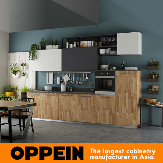 Oppein 360cm Wood Grain Pre-Assembled Kitchen Cabinet (OP17-HPL01) pictures & photos