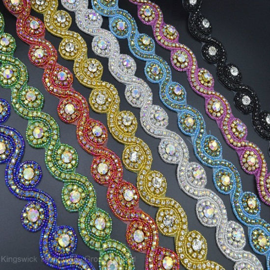 China Rhinestone Applique Trimming Crystal Appliques For Wedding