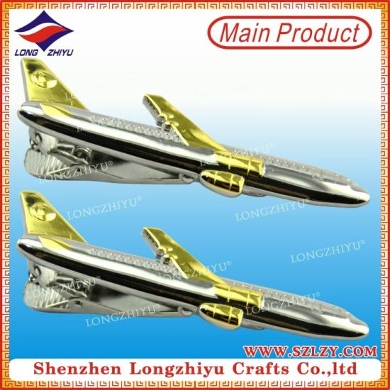 Mini Airplane Metal Dual Plating Tie Clips