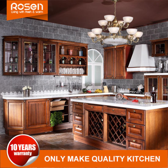 China Wholesale Classic Style Mahogany Solid Wood Kitchen Cabinets