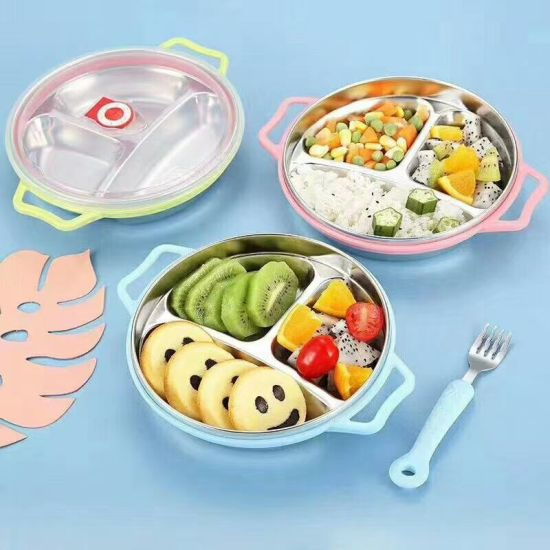 New Arrival 3 Divisions Food Grade 304 Food Fast Plate Comparments Lunch Box