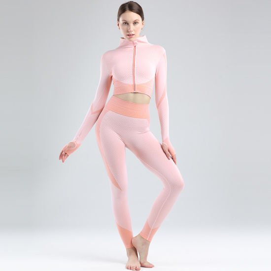 Custom Private Label 3 Pieces Set Tracksuit Three Set Womens Outwork Seamless Fitness Gym Yoga Wear