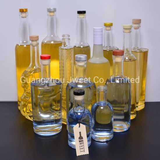Custom 500ml 700ml 750ml Glass Bottle Clear Empty Glass Bottles Vodka Whisky Brandy Tequila Gin Liquor Spirits Glass Bottle