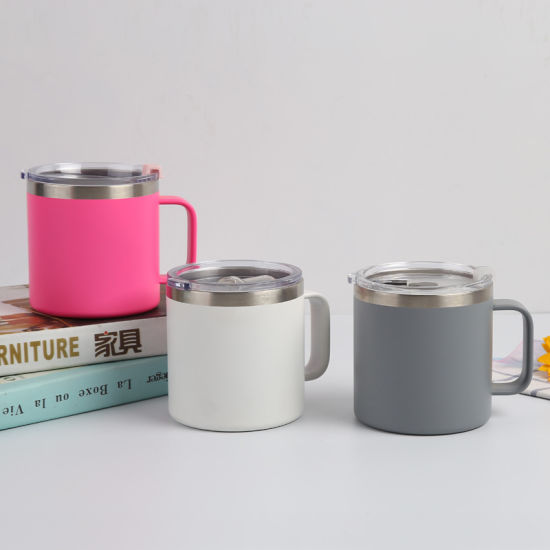Powder Coated Mug Vacuum Insulated Tumbler Double Walled 14 Oz Stainless Steel Tumbler Cup