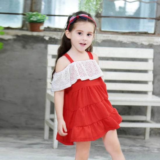 Red Sleeveless Long Dress Kids Lace Dress