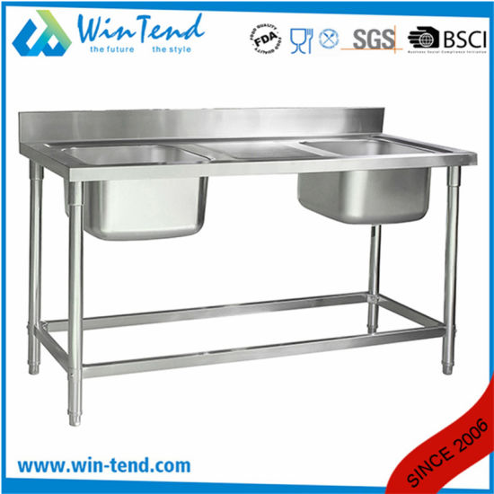 Commercial Custom Stainless Kitchen Double Bowl Double Bowl Sink Stand pictures & photos