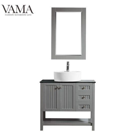 Vama 36 Inch American Used Grey Color Cheap Single Sink Hotel Bathroom Furniture 756036