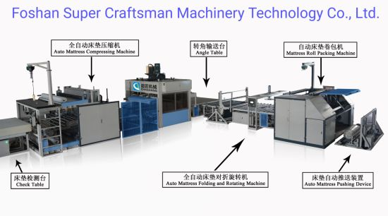 Automatic Mattress Packaging Assembly Line Set for Pack Mattress and Film Over