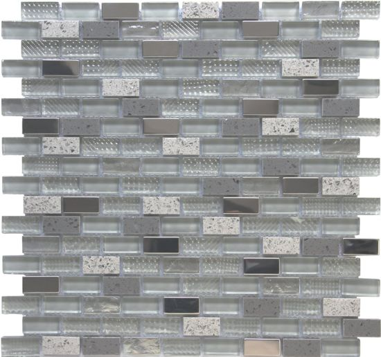 Cheap Kitchen Backsplash Texture Strip Blend Stone Black Glass Mosaic