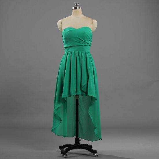 E569 New Design High Low Party Dress Green Bridesmaid Dresses