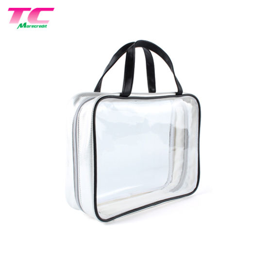 be2a96081d Crystal Clear Travel Toiletry Bag with Zipper Vinyl PVC Make-up Pouch  Handle Straps for