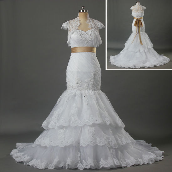 2019 White Layers Mermaid Wedding Dresses with Lace Bolero and Champagne Sashes W104