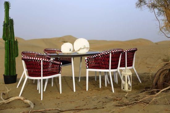Durable Handmake Weave PE Flat Rattan Outdoor Garden Dining Set Outdoor Furniture