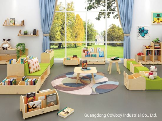Cowboy Wooden Cabinet Children Chairs and Table for Kids Daycare Nursery Use