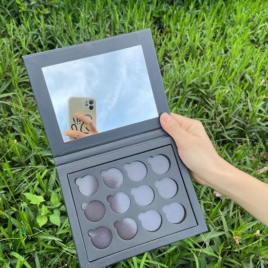Firstsail Eco Friendly Custom Black Paper Cardboard Makup Cosmetic Pigment Eyeshadow Palette 12 Empty Magnetic Pan Beauty Eye Pallet