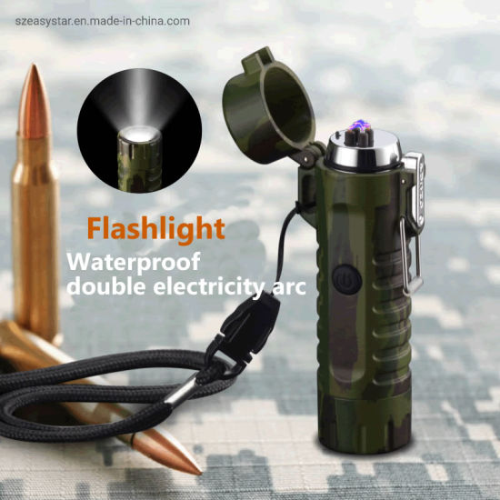 Waterproof Outdoor Camping Charging Flashlight Torch Electronic Double Arc Plasma Lighter