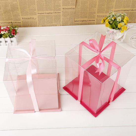 Wholesale Custom Logo Transparent Pet Plastic Box Cake Packaging