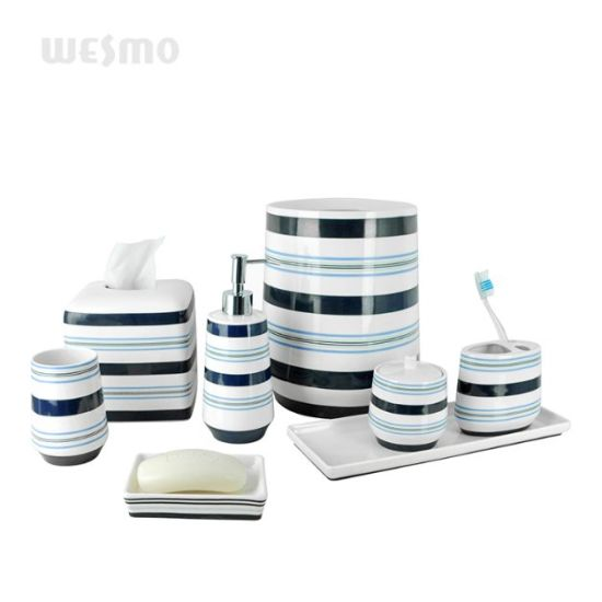 Porcelain Bathroom Set with Decal