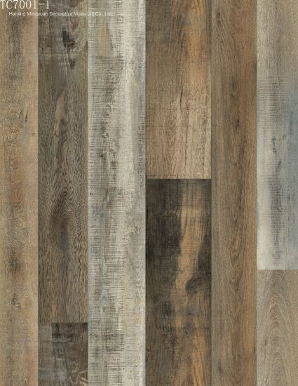 100% Virgin Material Brown Grain Vinyl Plank Flooring No Glue