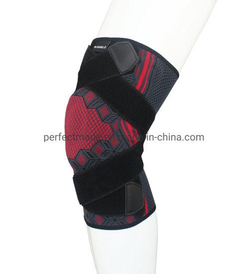 Nylon Stretch Knit Elastic Knee Brace with Strap