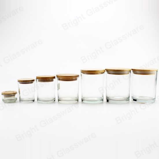 Wholesale 2oz 6oz 8oz 10oz Clear Glass Candle Jar with Wooden Lid pictures & photos