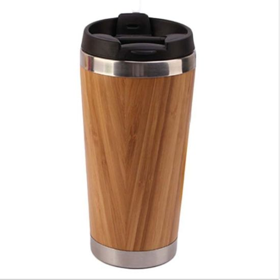 ad16fec7454 500ml Mug Reusable Double Wall Stainless Steel Coffee Tumbler Bamboo Coffee  Cup with Lid