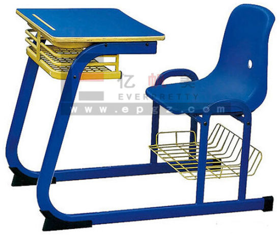 Single Student School Furniture Desk And Chair Fixed Wood Metal
