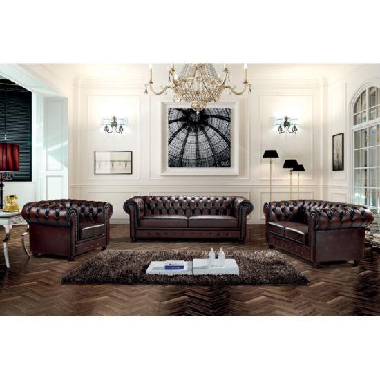 Luxury Italian Leather Vintage Chesterfield Sofa Set Ms 06
