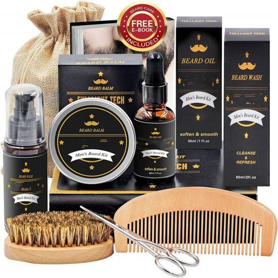 Beard Kit for Men Grooming & Care W/Beard Shampoo Oil Balm Comb Brush Scissor Christmas Gift