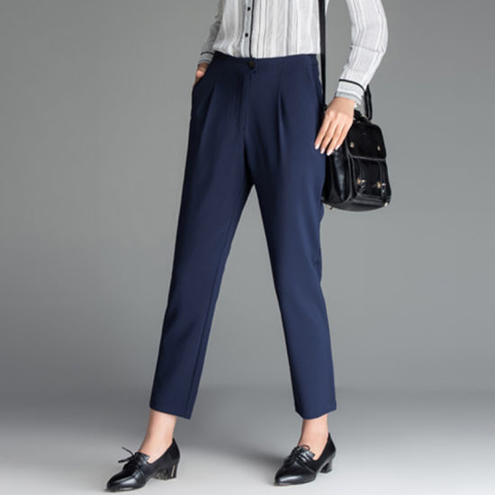 5eab6b7aaa6e Office Navy Blue Middle Waist Formal Womens Trouser Pants pictures   photos