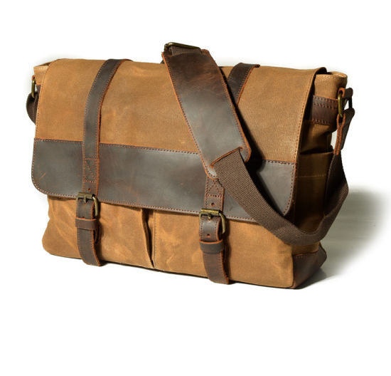 Mexco Waxed Canvas Leather Crossbody Shoulder Laptop Messenger Bag  (RS-16931) pictures   29c85748a7449
