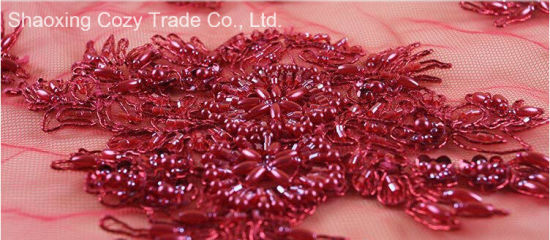 China New Design Of Beads Metallic Cord Embroidery By Handwork For