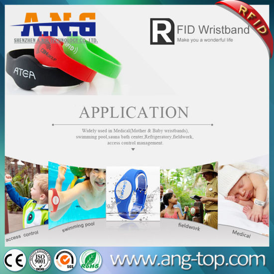 China Adjustable NFC Ultralight Chip RFID Wristbands Silicone for