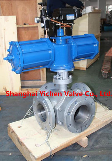 Pneumatic Carbon Steel Flanged Cross Ball Valve pictures & photos