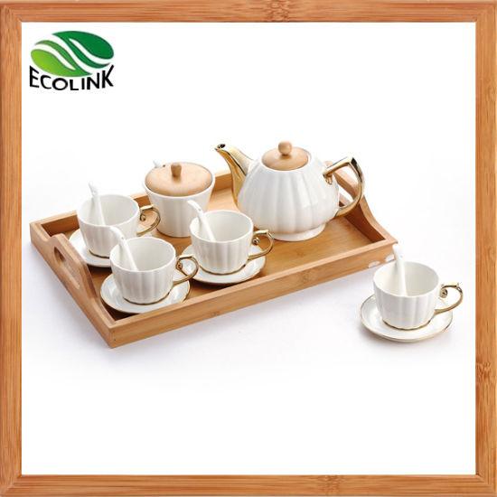 China Ceramic Coffee Pot Coffee Cup Set With Bamboo Tray China Tea