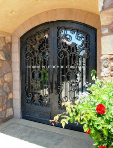 Low Price Hand-Forged Iron Entry Securtiry Front Door pictures & photos