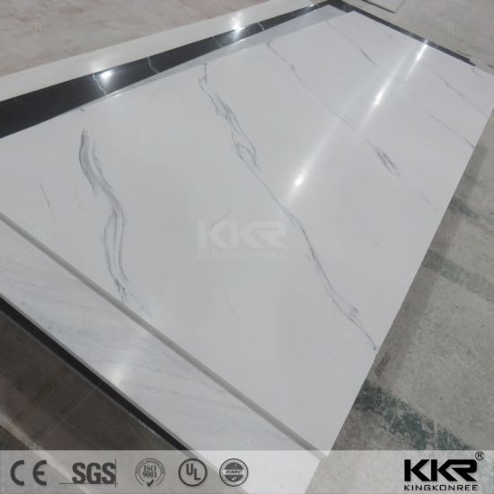 12mm Carrara White Acrylic Table Top Solid Surface Slab