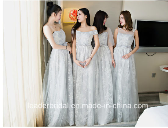 Silver Party Prom Gowns Lace Tulle Bridesmaid Evening Dress T2017