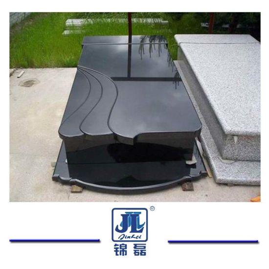 European Customized Black Marble Granite Stone Monument, Granite Grave Cross Tombstone / Headstone for Cemetery