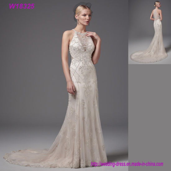 China Best Selling Gowns Grey Lace V-Back Bridal Wedding Dress ...