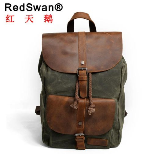 bd80cb379e Crazy Horse Leather Boy Backpacks Canvas Girl Laptop Backpack Bags  (RS-82064K)