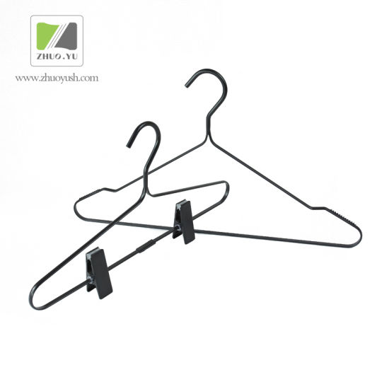 Black Metal Alloy Garment Branded Showroom Hangers / Bottom / Coat Hanger