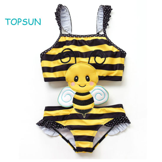 Infant Y/D Striped Sleeveless Top and Bikini Skirt with 2 Pieces of Beach and Swimming Kids Baby Suit with Bee Embroidery.