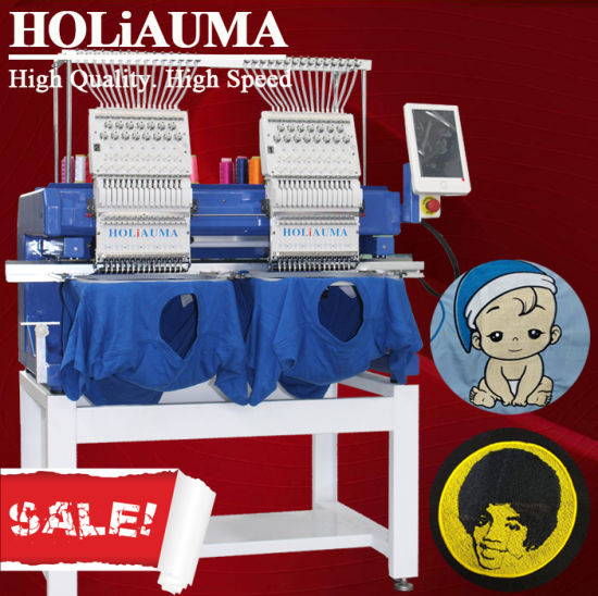 Good Holiauma Business 2 Head Flat /Hat/ 3D/ Leather/ Computer Embroidery Machine with 400*500mm Area Two Head 15 Colors